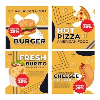 Postagem de comida americana no instagram