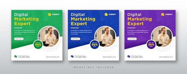 Postagem de especialista em mídia social e banner da web em marketing digital