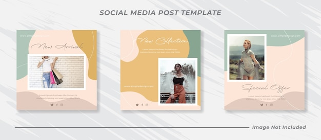 Postagem de feed de instagram de mídia social e modelo de banner de vendas de moda