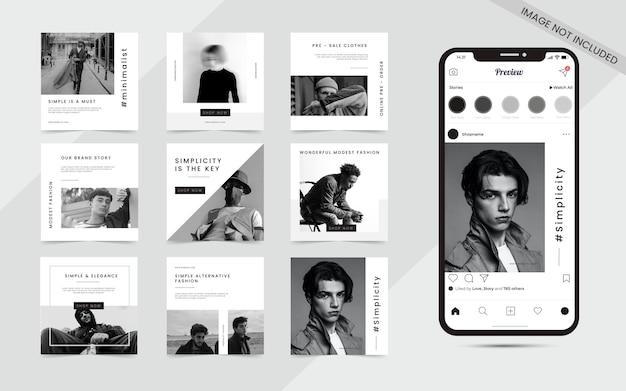 Postagem de feed de quebra-cabeça de carrossel de mídia social sem costura minimalista conjunto de modelo de banner de promoção de venda de moda instagram