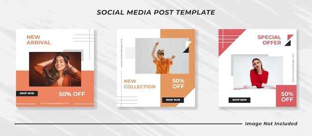 Postagem de feed do instagram de mídia social minimalista e modelo de banner de vendas de moda para histórias