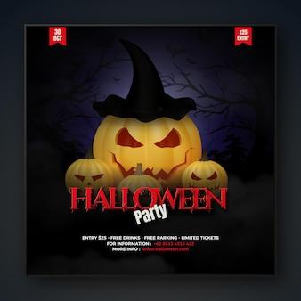 Postagem de festa de halloween nas mídias sociais com abóbora bruxa 3d