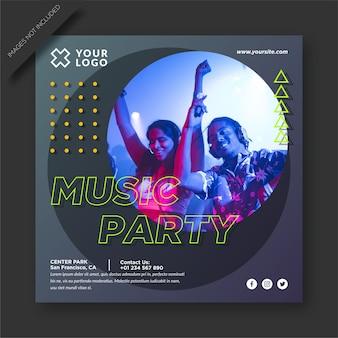 Postagem de festa musical e mídia social