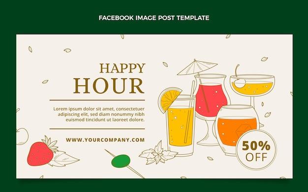 Postagem de happy hour desenhada à mão no facebook