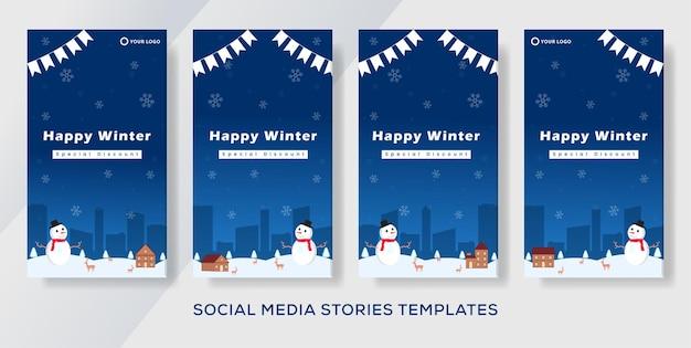 Postagem de histórias de modelo de banner de venda de inverno. ç