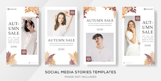 Postagem de histórias em banner de mídia social minimalista de outono