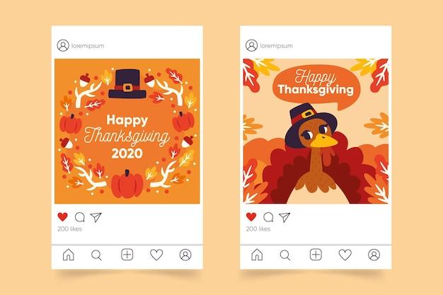 Postagem de instagram de ação de graças de design plano