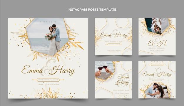 Postagem de instagram de casamento de luxo realista