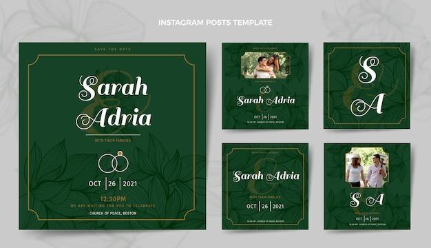 Postagem de instagram de casamento de ouro de luxo realista