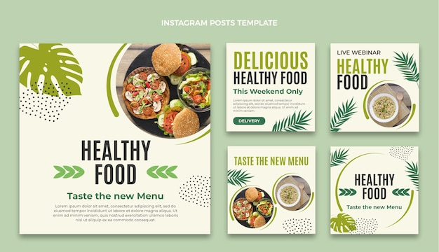 Postagem de instagram de comida de design plano