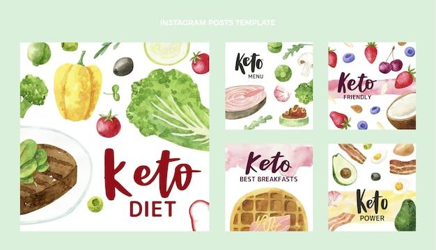 Postagem de instagram de comida em aquarela Vetor Premium