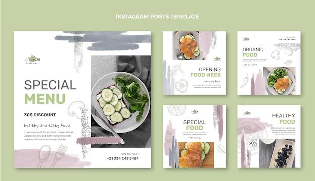 Postagem de instagram de comida em aquarela