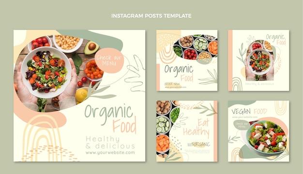 Postagem de instagram de comida orgânica de design plano