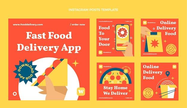 Postagem de instagram de fast food plana