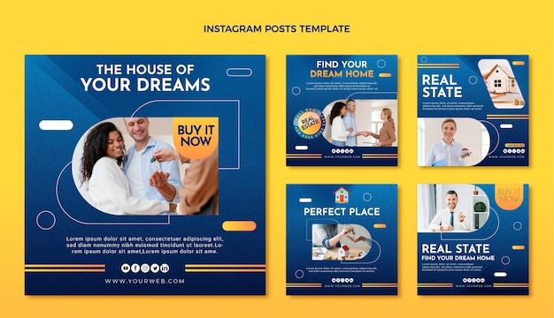Postagem de instagram de imobiliária de textura gradiente