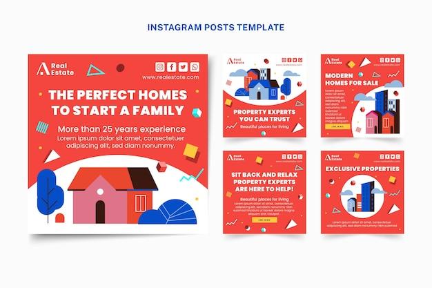 Postagem de instagram de imóveis geométricos planos abstratos
