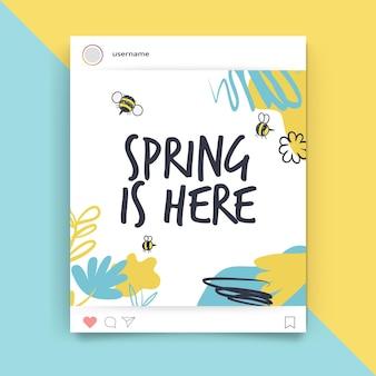 Postagem de instagram de primavera com pintura abstrata