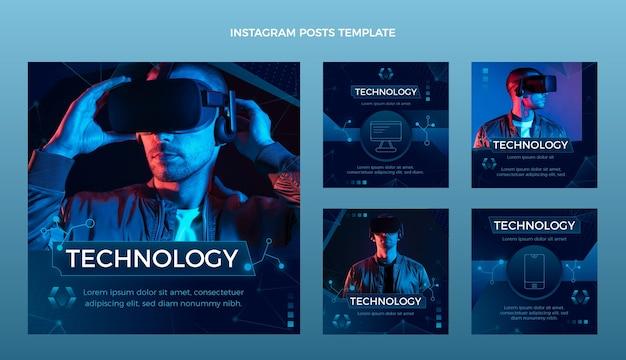 Postagem de instagram de tecnologia abstrata de gradiente