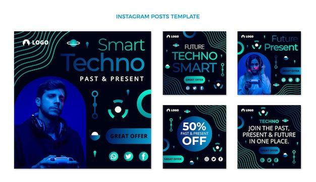 Postagem de instagram de tecnologia de gradiente