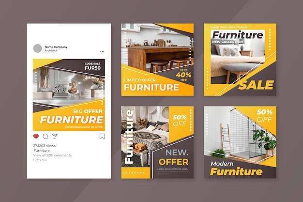 Postagem de instagram de venda de móveis gradiente