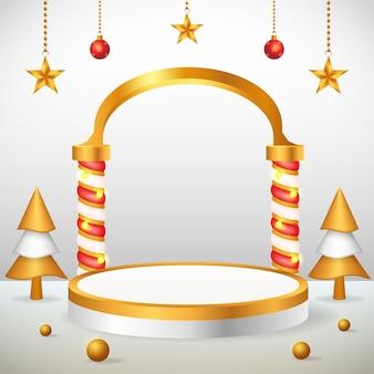 Postagem de instagram em mídia social com exibição de produto em 3d ouro no pódio de natal e ano novo
