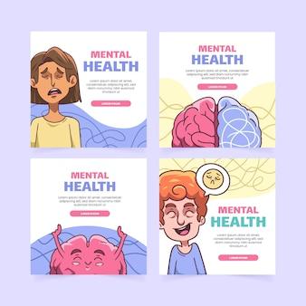 Postagem de instagram sobre saúde mental desenhada à mão