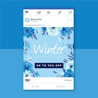Postagem de inverno nas redes sociais para o facebook