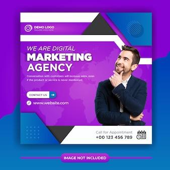 Postagem de marketing de negócios digitais em mídia social e banner na web