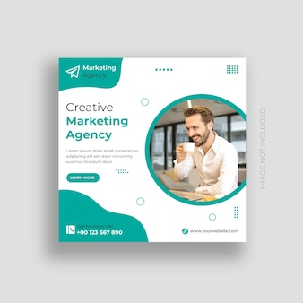Postagem de mídia social de agência de marketing digital e vetor premium de design de modelo de postagem do instagram