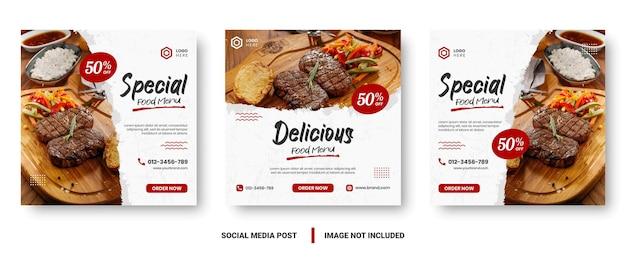 Postagem de mídia social de banner de menu de comida. modelos de mídia social editáveis para promoções no menu comida. conjunto de quadros de história e postagem de mídia social. projeto de layout para marketing em mídias sociais.