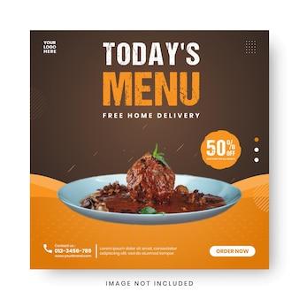 Postagem de mídia social de banner de menu de comida
