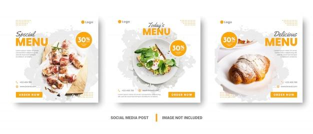 Postagem de mídia social de banner de menu de comida.