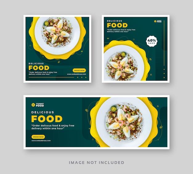 Postagem de mídia social de comida de restaurante com banner da web