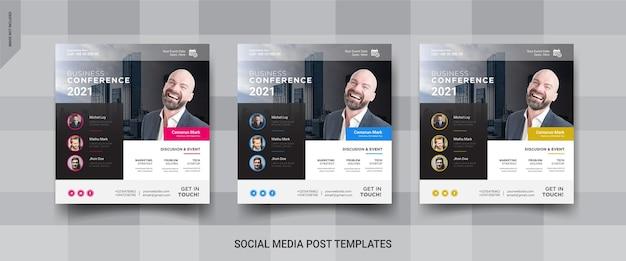 Postagem de mídia social de conferência de negócios no instagram