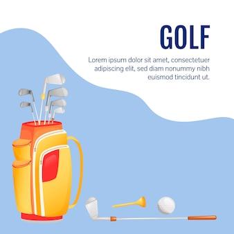 Postagem de mídia social de equipamentos esportivos. artigos de golfe. modelo de design de banner da web. equipamento profissional