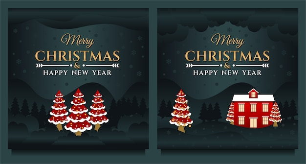 Postagem de mídia social de feliz natal e feliz ano novo, modelo de banner com árvore de natal