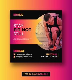 Postagem de mídia social de fitness ou design de banner