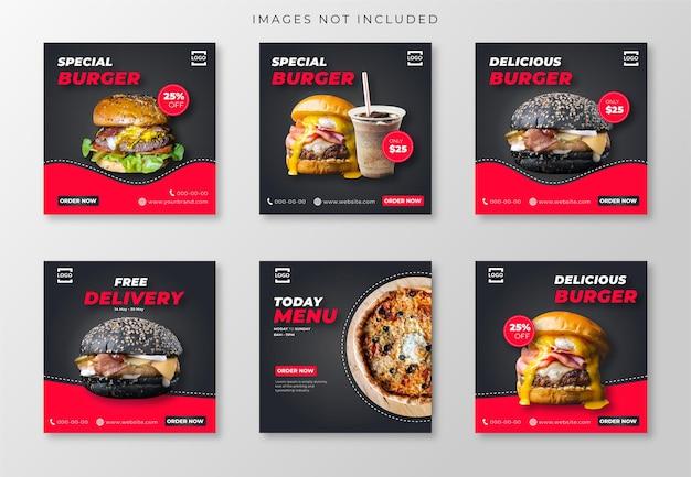 Postagem de mídia social de hambúrguer e pizza