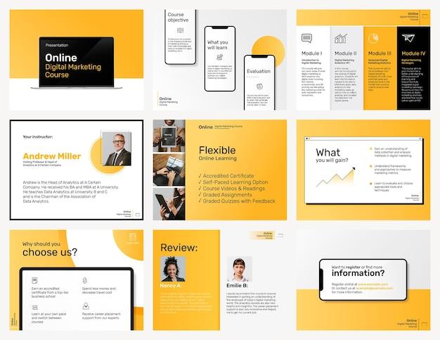Postagem de mídia social de modelo de marketing digital definido em tema amarelo