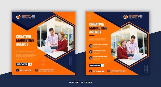 Postagem de mídia social de negócios criativos e modelo de banner de postagem do instagram