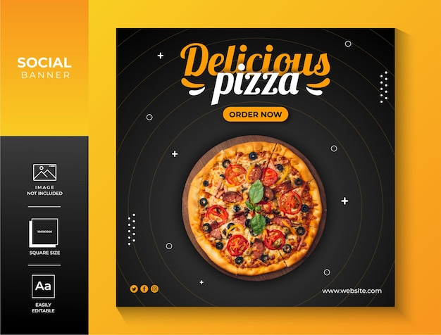 Postagem de mídia social de pizza e modelo de design de postagem de banner vetor premium