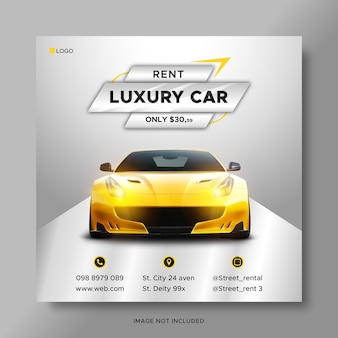 Postagem de mídia social de promoção de aluguel de automóveis