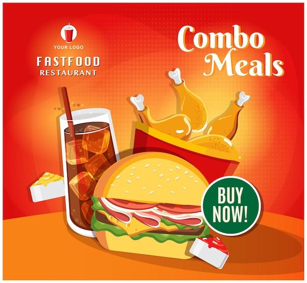 Postagem de mídia social de restaurante de banner de fast food