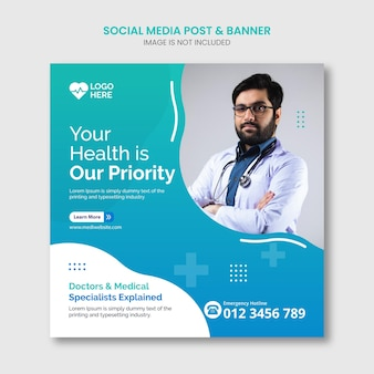 Postagem de mídia social de saúde médica e vetor premium de modelo de banner da web insta vector premium