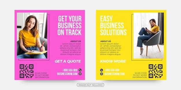 Postagem de mídia social de soluções de negócios fáceis