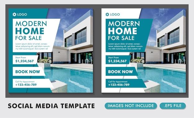 Postagem de mídia social de venda de casa moderna imobiliária ou modelo de banner quadrado