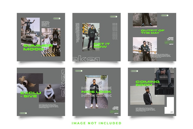 Postagem de mídia social definir modelo de estilo urbano