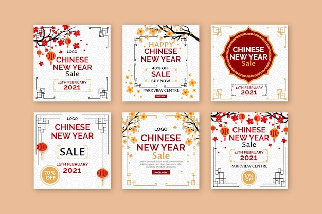 Postagem de mídia social do ano novo chinês