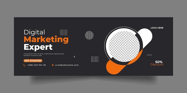 Postagem de mídia social e modelo de banner para capa do facebook de marketing digital