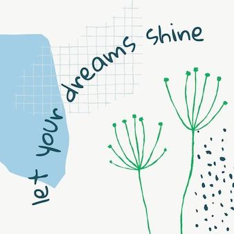 Postagem de mídia social estética floral modelo editável com citações inspiradoras